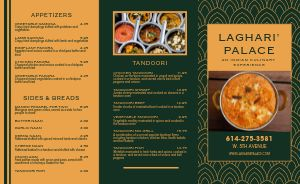 Upscale Indian Cuisine Takeout Menu