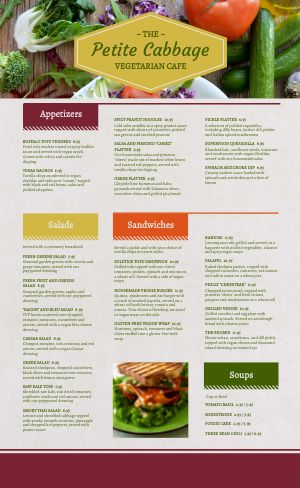 Colorful Vegan Menu