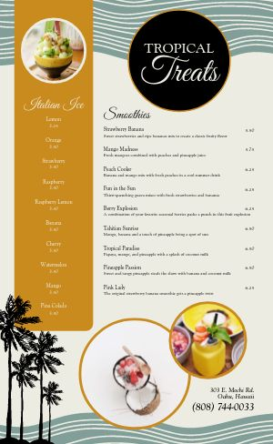Tropical Dessert Menu