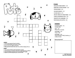 Kids Crossword Menu