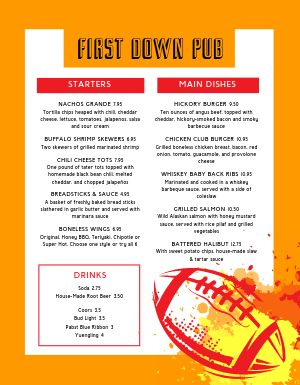 Football Pub Menu