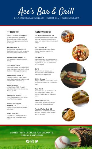 Baseball Sports Bar Menu