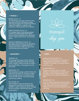 Abstract Spa Menu