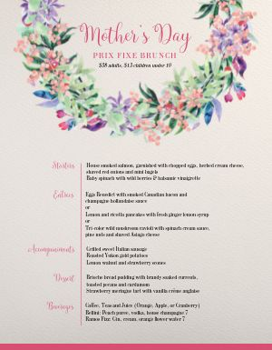 Mothers Day Prix Fixe Specials Menu