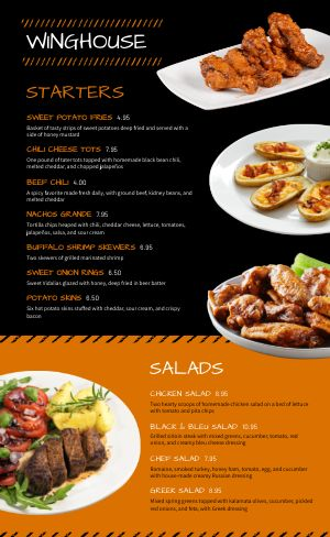 Sports Bar Wings Menu