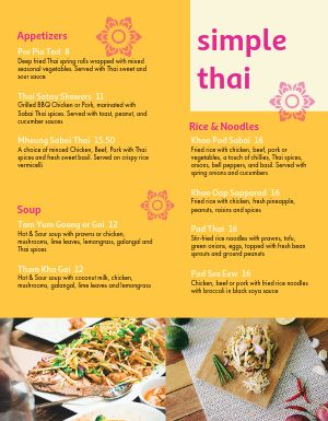 Simple Thai Menu