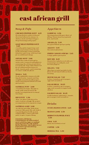 East African Grill Menu