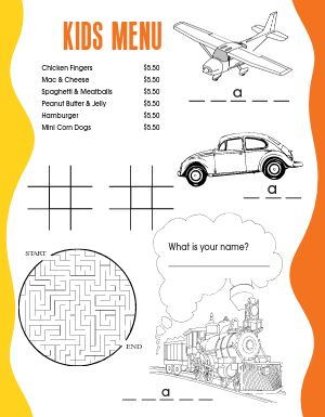 Trains Kids Menu