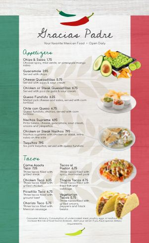 Mexican Flag Sample Menu