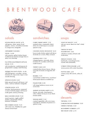Pink Splash Cafe Menu