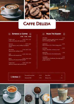Italian Coffee A4 Menu