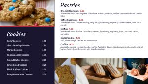 Navy Dessert Digital Menu Board