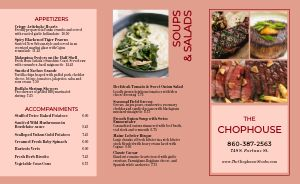 Colorful Steakhouse Takeout Menu