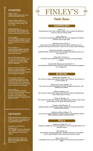 Golden Pub Menu