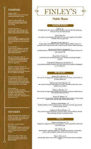 Golden Pub Menu