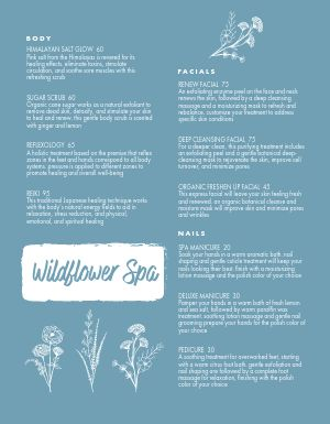 Naturalistic Spa Menu