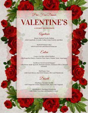 Valentines Rose Petal Menu
