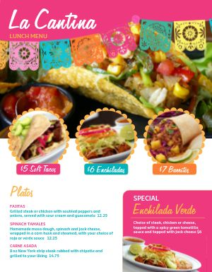 Colorful Cantina Mexican Menu