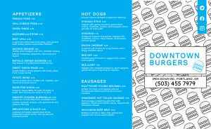 Downtown Burger Takeout Menu