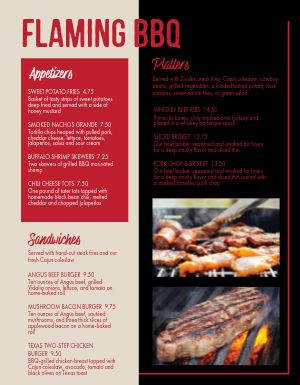 Flaming Grill BBQ Menu