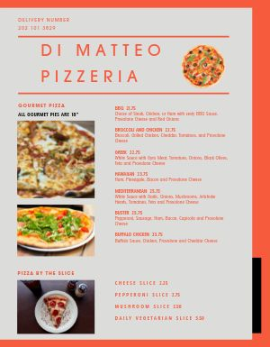 Pizza Dinner Menu