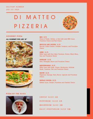 Pizza Dinner Menu