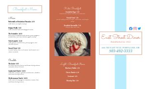 Diner Eatery Takeout Menu