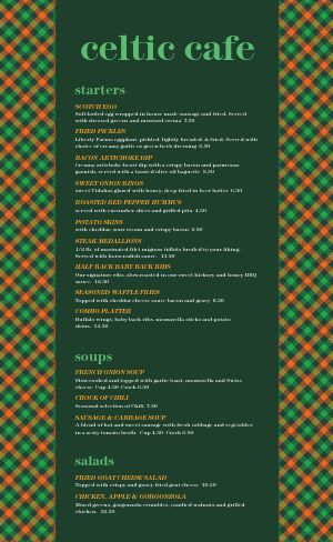 Celtic Cafe Menu