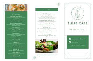Cafe Tulip Folded Menu