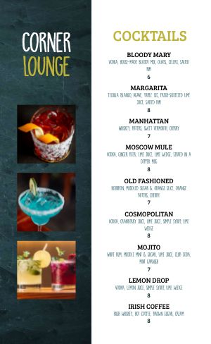 Cocktail Lounge Menu