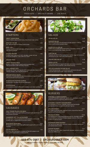 Orchard Bar Menu