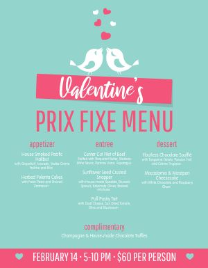Electric Valentines Day Menu