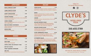 Wood Fired Pizza Takeout Menu Sample
