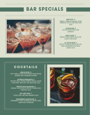 Modern Happy Hour Menu