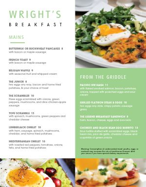 Standard Breakfast Menu