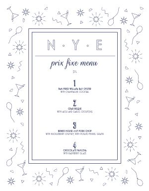Fun New Years Menu