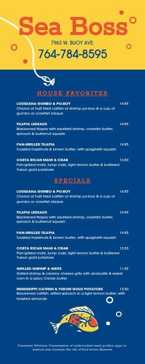 Seafood Lite Takeout Menu