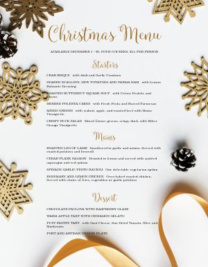Golden Christmas Menu