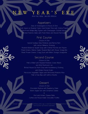 New Years Winter Menu