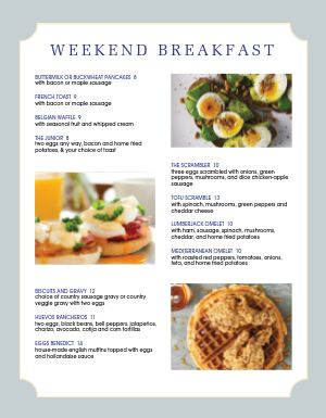 Weekend Breakfast Menu