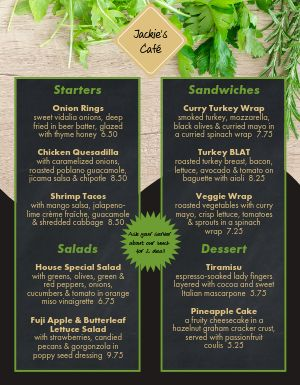 Cafe Fresh Promo Menu