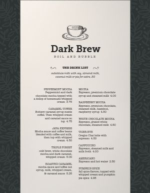 Strong Coffee Menu