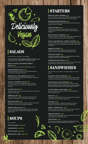 Wooden Vegan Menu
