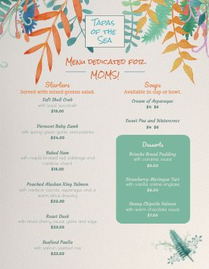 Mothers Day Seafood Menu