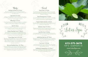 Spa Lotus Folded Menu