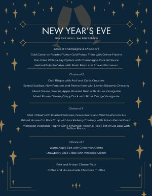 New Years Starlight Menu