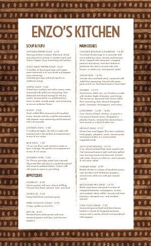 African Kitchen Cuisine Menu
