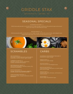 Breakfast Seasonal Specials Menu
