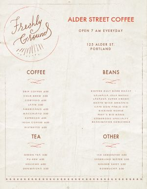 Parchment Coffee Menu