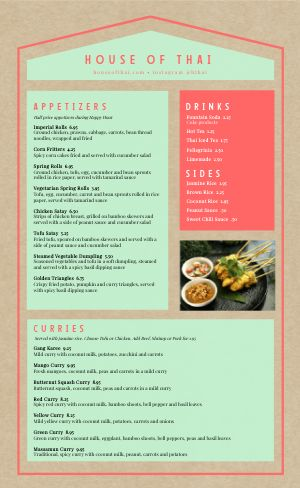 Curry Thai Menu